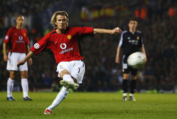 David Beckham of Man Utd scores the 3rd goal